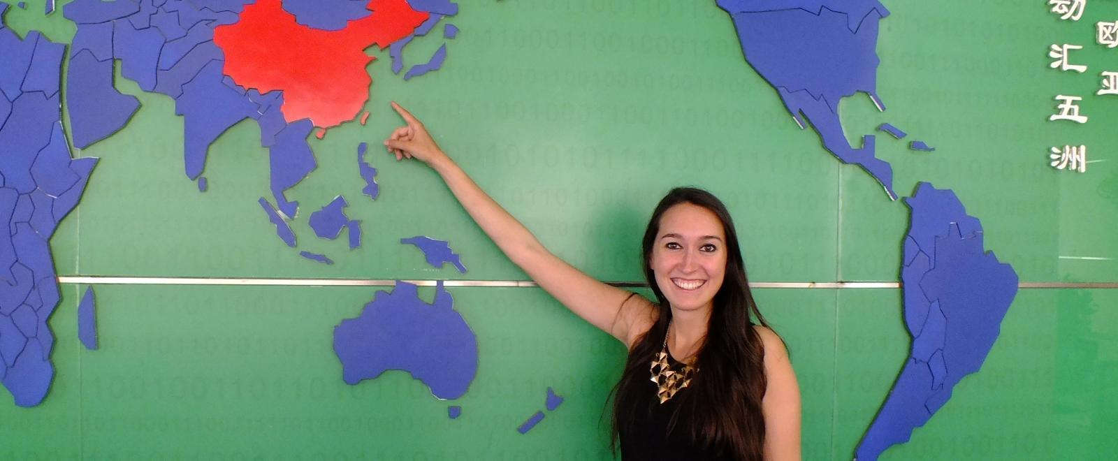 An excited volunteer arrives in China and prepares for her Projects Abroad induction.
